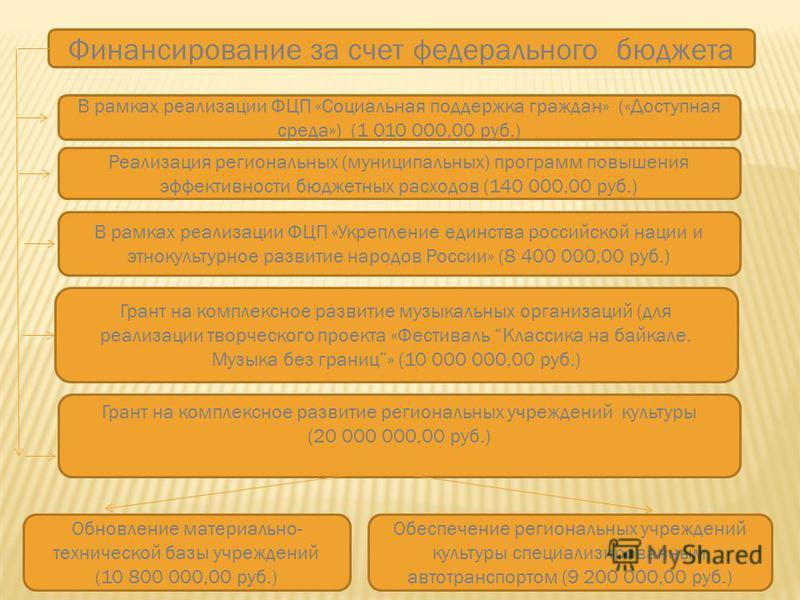 Финансирование за счет федерального бюджета В рамках реализации ФЦП «Социальная поддержка граждан» («Доступная среда») (1 010 000,00 руб.) Реализация региональных (муниципальных) программ повышения эффективности бюджетных расходов (140 000,00 руб.) В