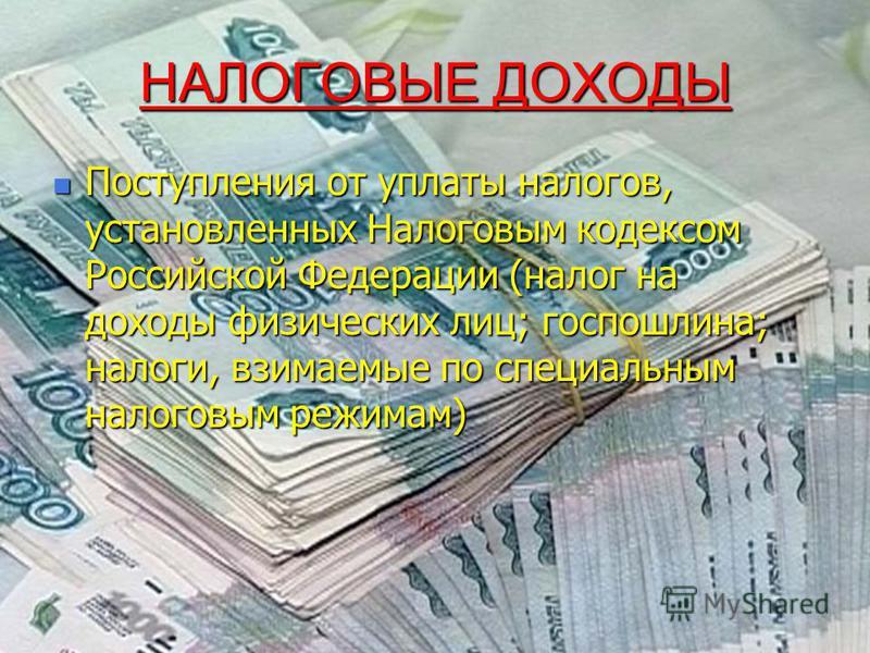 НАЛОГОВЫЕ ДОХОДЫ Поступления от уплаты налогов, установленных Налоговым кодексом Российской Федерации (налог на доходы физических лиц; госпошлина; налоги, взимаемые по специальным налоговым режимам) Поступления от уплаты налогов, установленных Налого