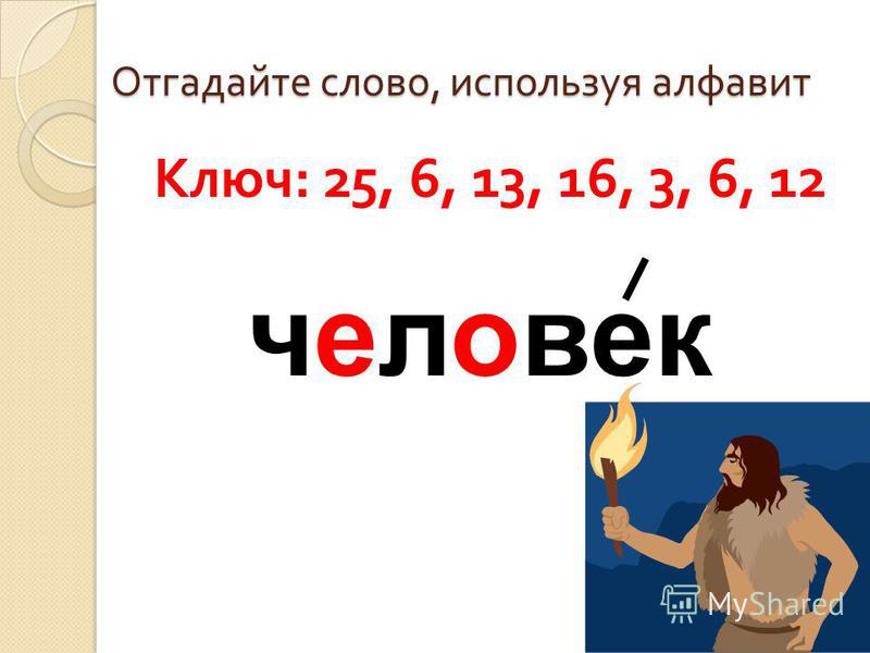 Отгадайте слово, используя алфавит Ключ : 25, 6, 13, 16, 3, 6, 12 человек