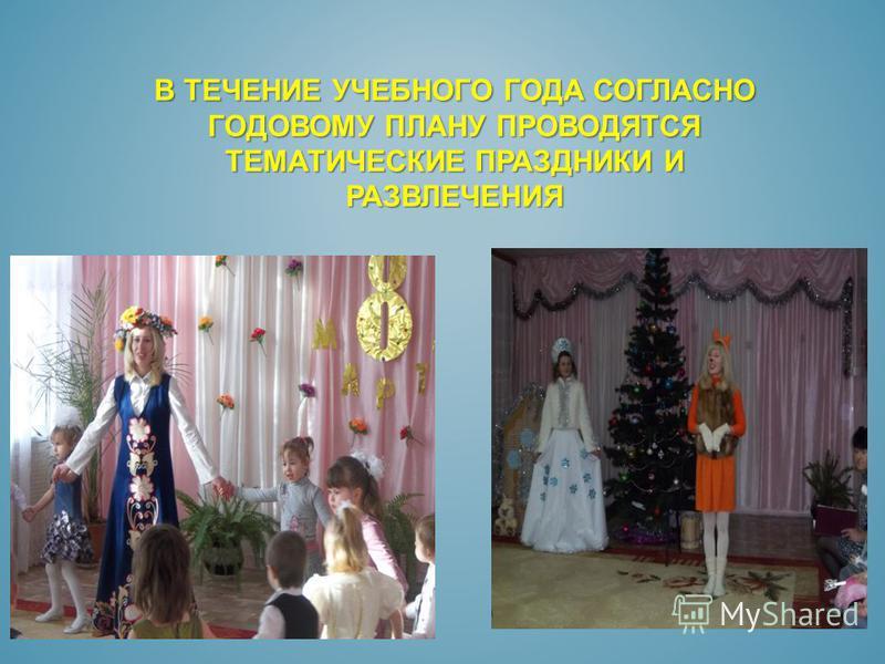 В ТЕЧЕНИЕ УЧЕБНОГО ГОДА СОГЛАСНО ГОДОВОМУ ПЛАНУ ПРОВОДЯТСЯ ТЕМАТИЧЕСКИЕ ПРАЗДНИКИ И РАЗВЛЕЧЕНИЯ