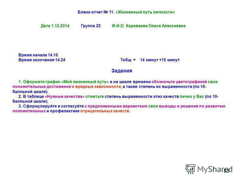 53 Время начала 14.10 Время окончания 14.24 Тобщ = 14 минут +15 минут Задания 1. Оформите график «Мой жизненный путь» и на шкале времени обозначьте цветографикой свои положительные достижения и вредные зависимости, а также степень их выраженности (по