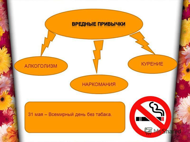 АЛКОГОЛИЗМ КУРЕНИЕ НАРКОМАНИЯ 31 мая – Всемирный день без табака.