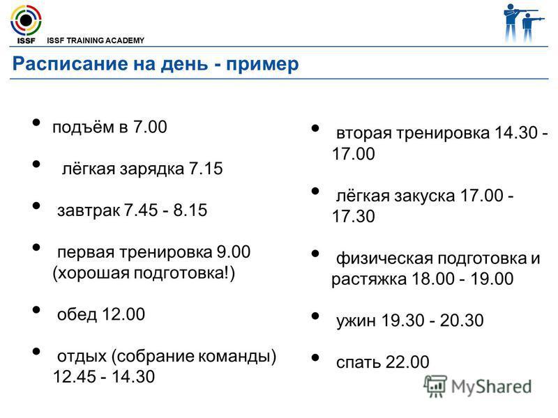 ISSF TRAINING ACADEMY Расписание на день - пример подъём в 7.00 лёгкая зарядка 7.15 завтрак 7.45 - 8.15 первая тренировка 9.00 (хорошая подготовка!) обед 12.00 отдых (собрание команды) 12.45 - 14.30 вторая тренировка 14.30 - 17.00 лёгкая закуска 17.0