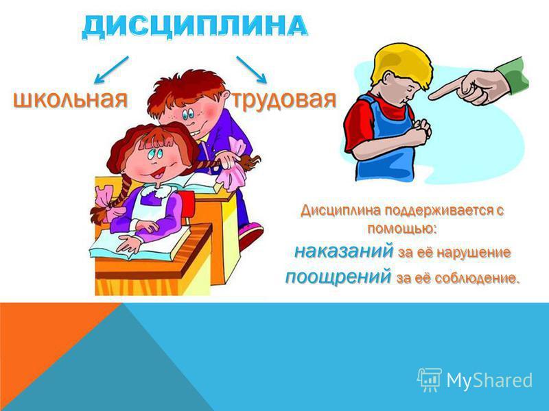 школьная трудовая Дисциплина поддерживается с помощью: наказаний за её нарушение поощрений за её соблюдение.
