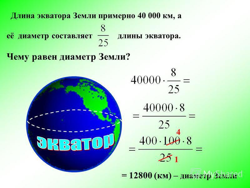 Длина экватора Земли примерно 40 000 км, а её диаметр составляет длины экватора. Чему равен диаметр Земли? 1 4 = 12800 (км) – диаметр Земли
