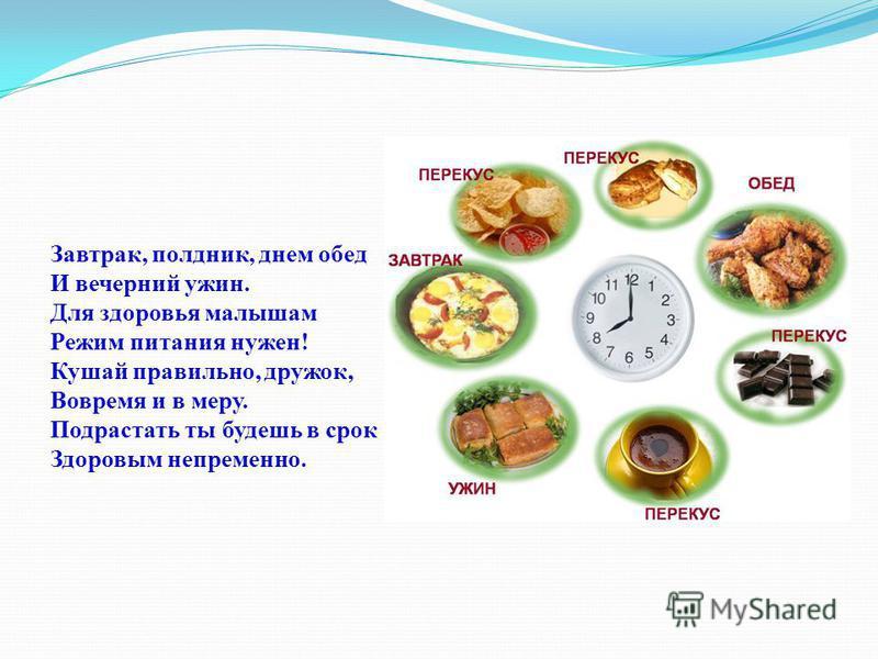 Завтрак, полдник, днем обед И вечерний ужин. Для здоровья малышам Режим питания нужен! Кушай правильно, дружок, Вовремя и в меру. Подрастать ты будешь в срок Здоровым непременно.