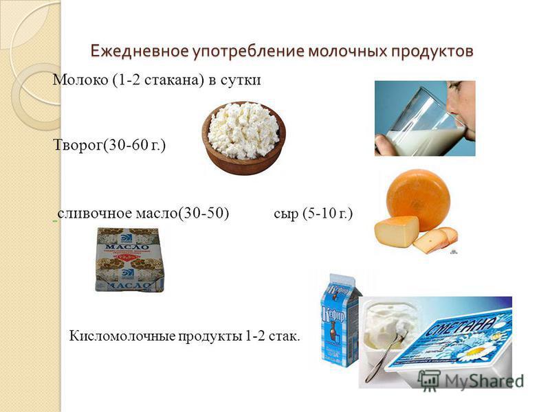 Ежедневное употребление молочных продуктов Молоко (1-2 стукана) в сутки Творог(30-60 г.) сливочное масло(30-50 ) сыр (5-10 г.) Кисломолочные продукты 1-2 стук.