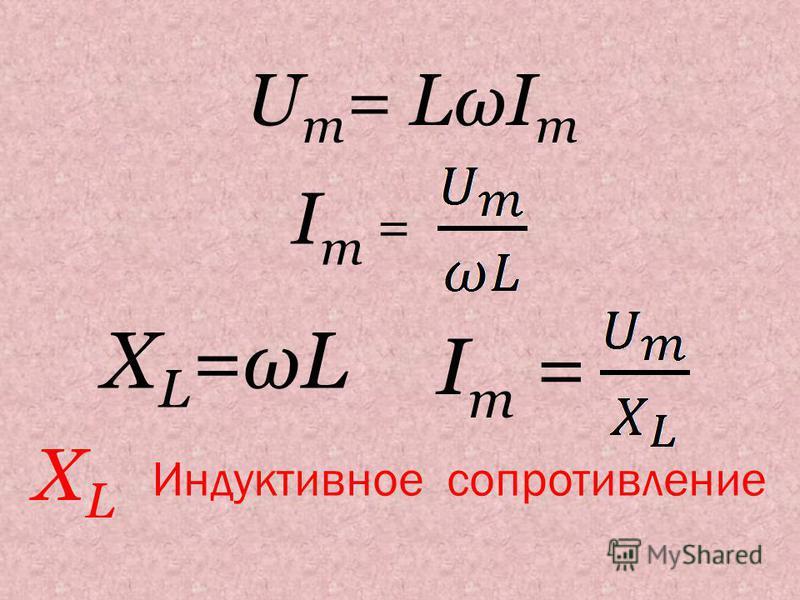 U m = LωI m Im =Im = X L =ωL Im =Im = Индуктивное сопротивление XLXL