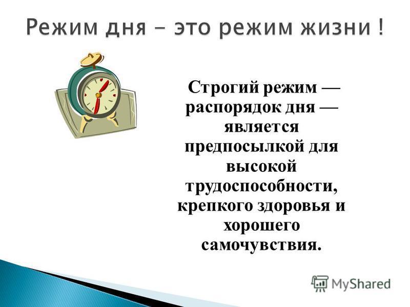 Строгий режим распорядок дня является предпосылкой для высокой трудоспособности, крепкого здоровья и хорошего самочувствия.