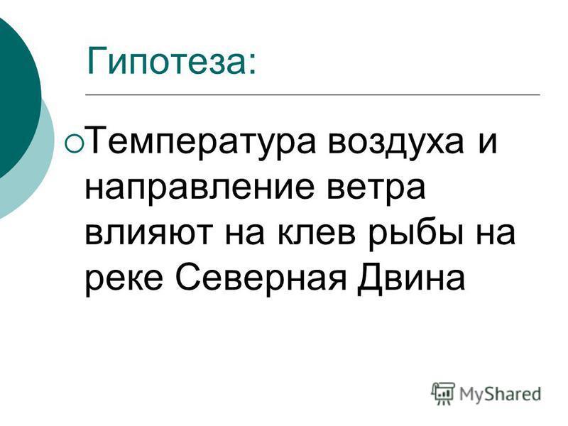 Гипотеза: Температура воздуха и направление ветра влияют на клев рыбы на реке Северная Двина