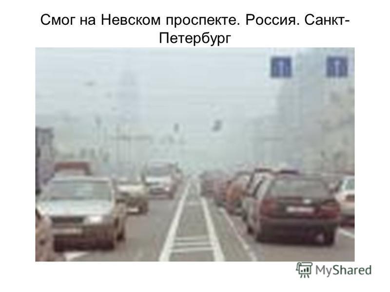 Смог на Невском проспекте. Россия. Санкт- Петербург
