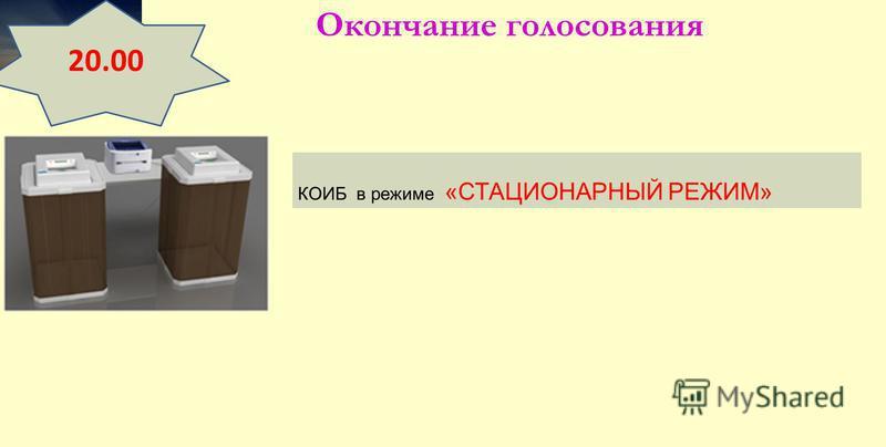 Окончание голосования 20.00 КОИБ в режиме «СТАЦИОНАРНЫЙ РЕЖИМ»