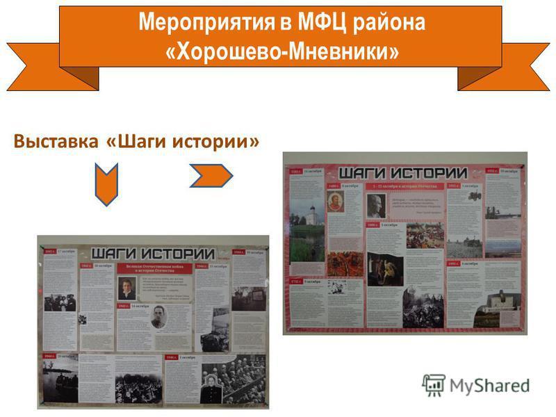 Мероприятия в МФЦ района «Хорошево-Мневники» Выставка «Шаги истории»