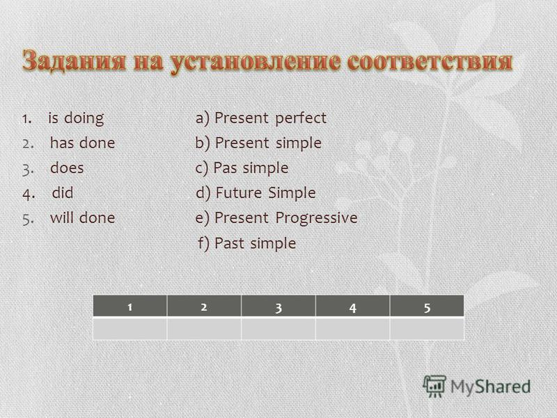 1. is doing a) Present perfect 2. has done b) Present simple 3. does c) Pas simple 4. did d) Future Simple 5. will done e) Present Progressive f) Past simple 12345