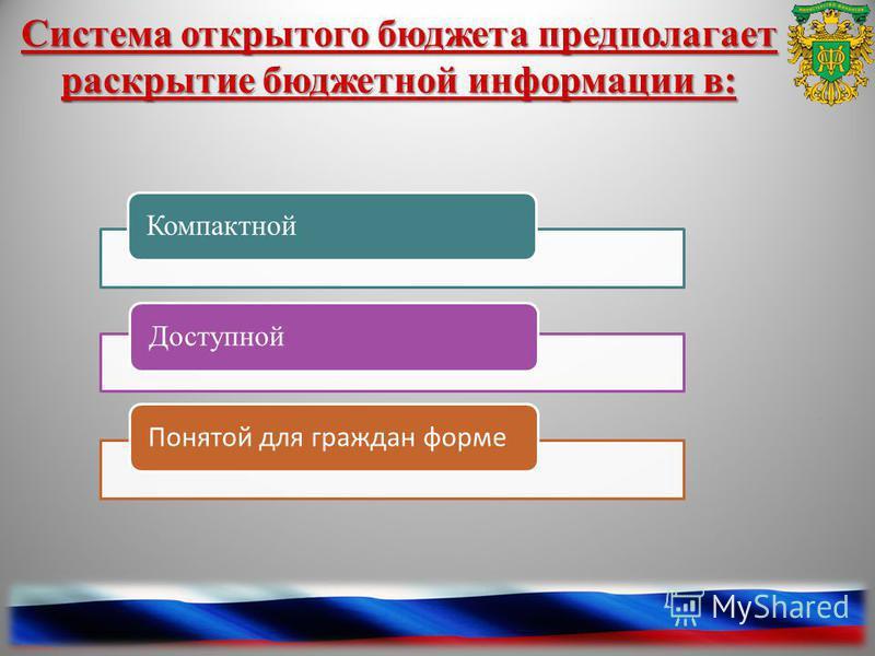 . Система открытого бюджета предполагает раскрытие бюджетной информации в: Компактной Доступной Понятой для граждан форме