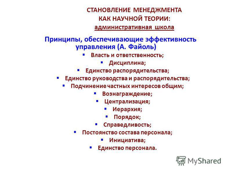 СТАНОВЛЕНИЕ МЕНЕДЖМЕНТА КАК НАУЧНОЙ ТЕОРИИ: административная школа Принципы, обеспечивающие эффективность управления (А. Файоль) Власть и ответственность; Дисциплина; Единство распорядительства; Единство руководства и распорядительства; Подчинение ча