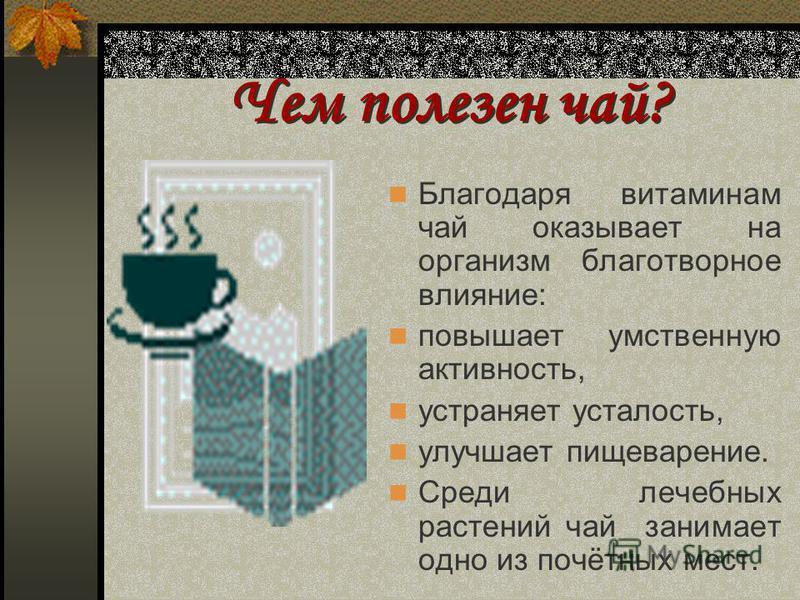 Что такое чай? Чай - это богатейшая аптека, чайный лист содержит стимулирующее вещество, полезные для желудка кислоты, эфирные масла, которые придают неповторимый аромат. В свежих листьях чая витамина С в 4 раза больше, чем в лимоне, а в зелёном чае