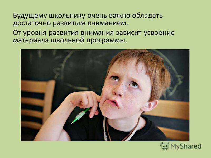 Будущему школьнику очень важно обладать достаточно развитым вниманием. От уровня развития внимания зависит усвоение материала школьной программы.