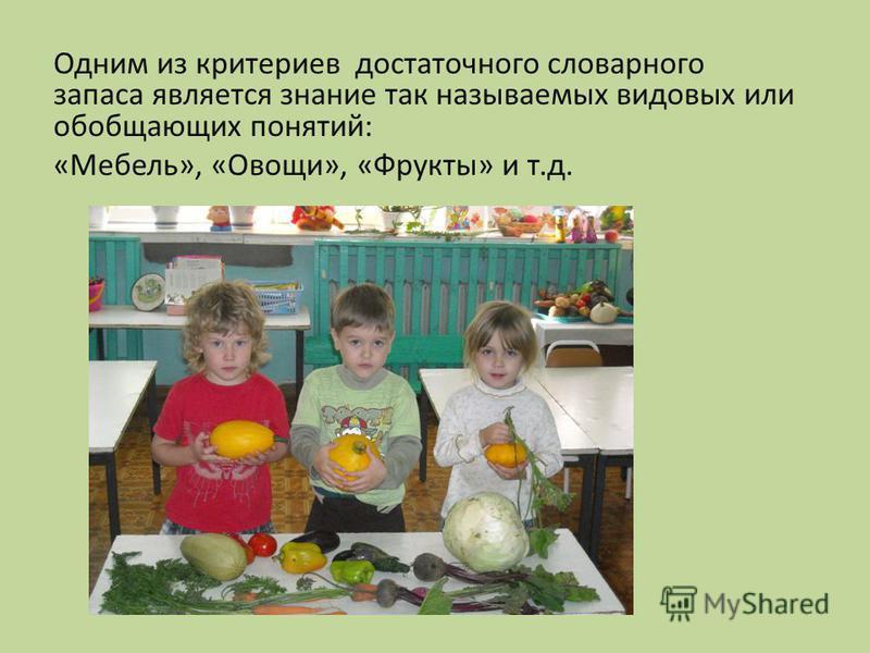 Одним из критериев достаточного словарного запаса является знание так называемых видовых или обобщающих понятий: «Мебель», «Овощи», «Фрукты» и т.д.