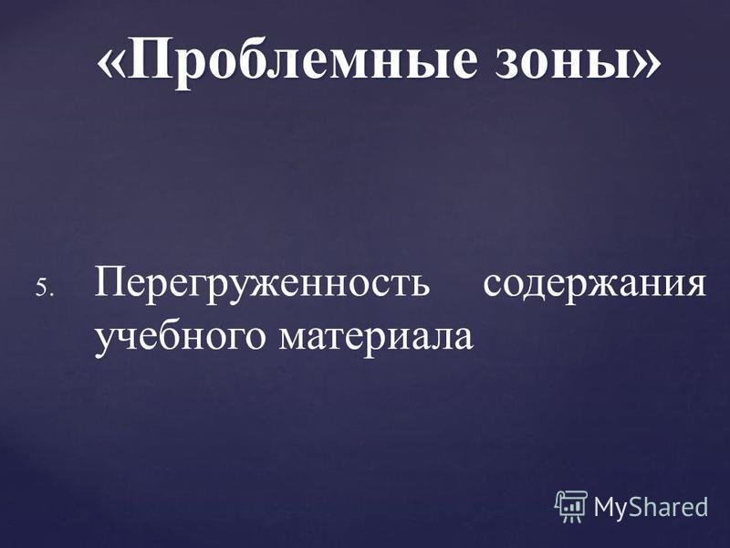 5. 5. Перегруженность содержания учебного материала «Проблемные зоны»