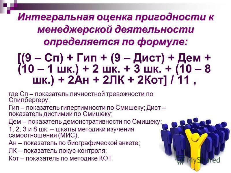 Интегральная оценка пригодности к менеджерской деятельности определяется по формуле: [(9 – Сп) + Гип + (9 – Дист) + Дем + (10 – 1 шк.) + 2 шк. + 3 шк. + (10 – 8 шк.) + 2Ан + 2ЛК + 2Кот] / 11, где Сп – показатель личностной тревожности по Спилбергеру;