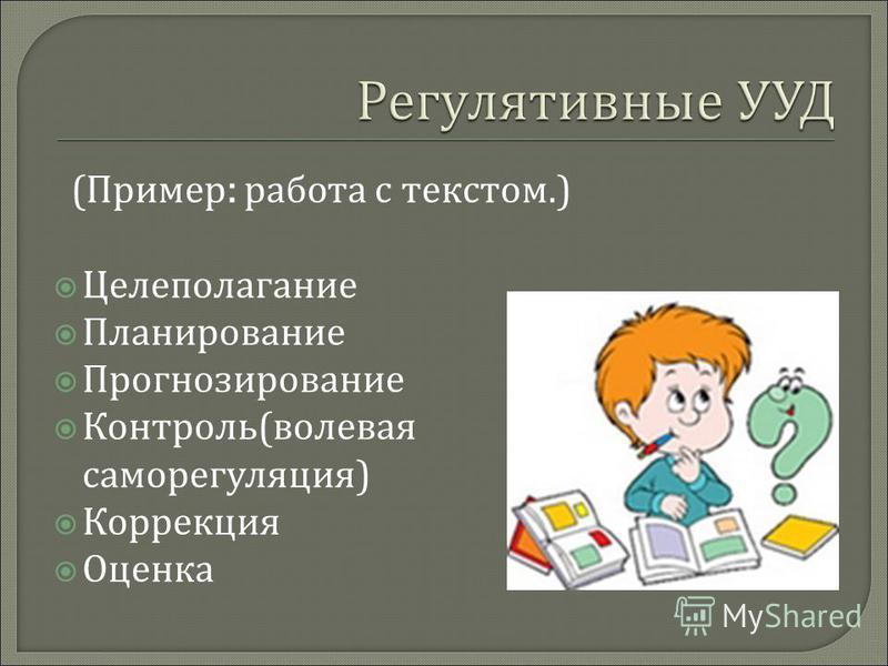 ( Пример : работа с текстом.) Целеполагание Планирование Прогнозирование Контроль ( волевая саморегуляция ) Коррекция Оценка