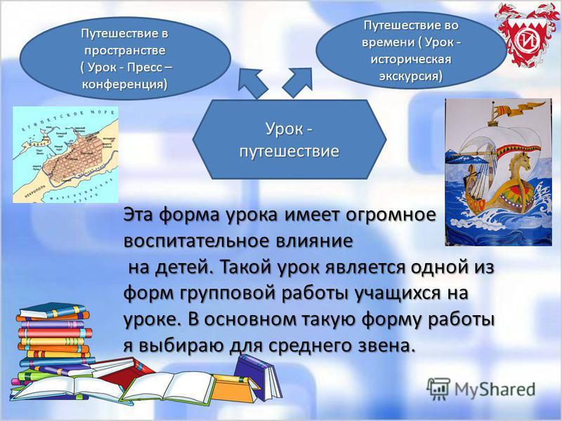 Урок - путешествие Путешествие в пространстве ( Урок - Пресс – конференция) ( Урок - Пресс – конференция) Путешествие во времени ( Урок - историческая экскурсия) Эта форма урока имеет огромное воспитательное влияние на детей. Такой урок является одно