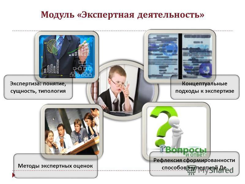 Модуль « Экспертная деятельность » Экспертиза : понятие, сущность, типология Методы экспертных оценок Концептуальные подходы к экспертизе Рефлексия сформированности способов экспертной Де