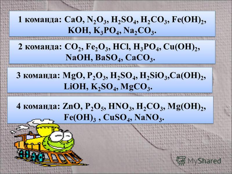 1 команда: CaO, N 2 O 3, H 2 SO 4, H 2 CO 3, Fe(OH) 2, KOH, K 3 PO 4, Na 2 CO 3. 2 команда: CO 2, Fe 2 O 3, HCl, H 3 PO 4, Cu(OH) 2, NaOH, BaSO 4, CaCO 3. 2 команда: CO 2, Fe 2 O 3, HCl, H 3 PO 4, Cu(OH) 2, NaOH, BaSO 4, CaCO 3. 3 команда: MgO, P 2 O