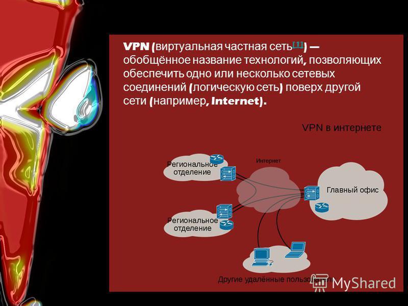 VPN ( виртуальная частная сеть [1] ) обобщённое название технологий, позволяющих обеспечить одно или несколько сетевых соединений ( логическую сеть ) поверх другой сети ( например, Internet). [1]