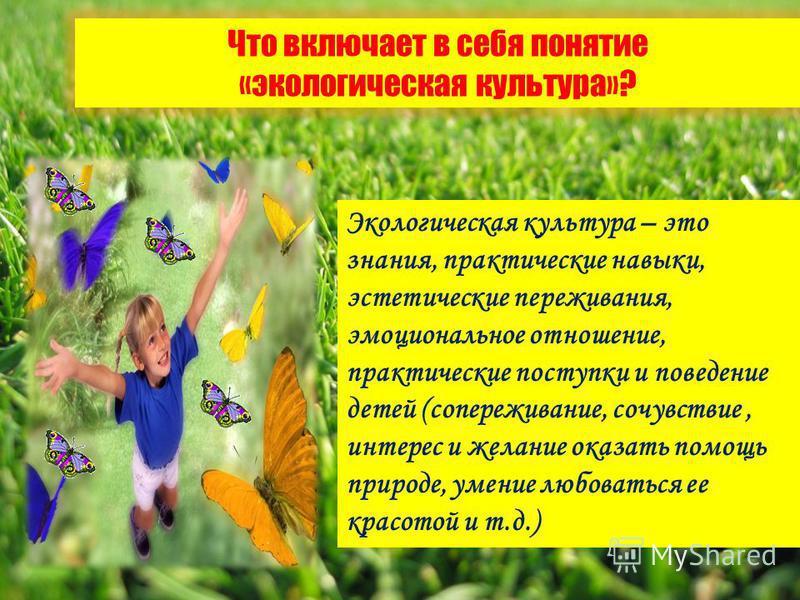 Что включает в себя понятие «экологическая культура»? Экологическая культура – это знания, практические навыки, эстетические переживания, эмоциональное отношение, практические поступки и поведение детей (сопереживание, сочувствие, интерес и желание о