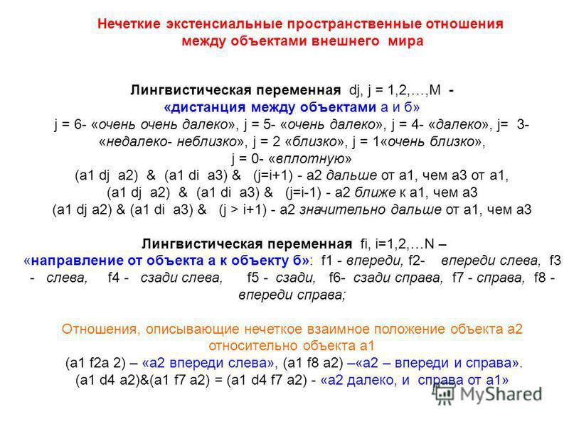 Лингвистическая переменная dj, j = 1,2,…,M - «дистанция между объектами а и б» j = 6- «очень очень далеко», j = 5- «очень далеко», j = 4- «далеко», j= 3- «недалеко- не близко», j = 2 «близко», j = 1«очень близко», j = 0- «вплотную» (а 1 dj а 2) & (а