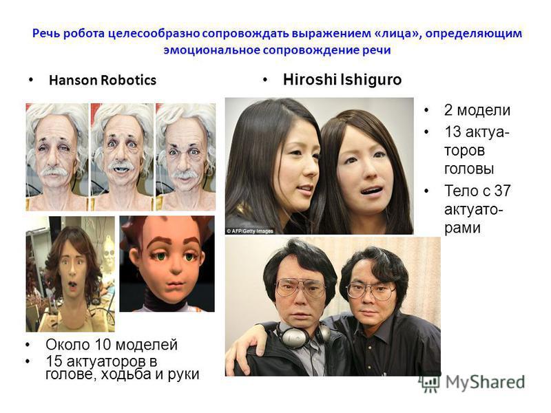 Речь робота целесообразно сопровождать выражением «лица», определяющим эмоциональное сопровождение речи Hanson Robotics Hiroshi Ishiguro Около 10 моделей 15 актуаторов в голове, ходьба и руки 2 модели 13 актуа- торов головы Тело с 37 актуато- рами