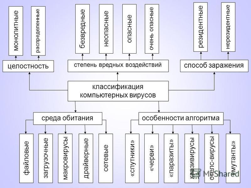 классификация компьютерных вирусов степень вредных воздействий особенности алгоритма среда обитания способ заражения целостность монолитные распределенные сетевые драйверные макровирусы загрузочные файловые безвредные неопасные опасные очень опасные