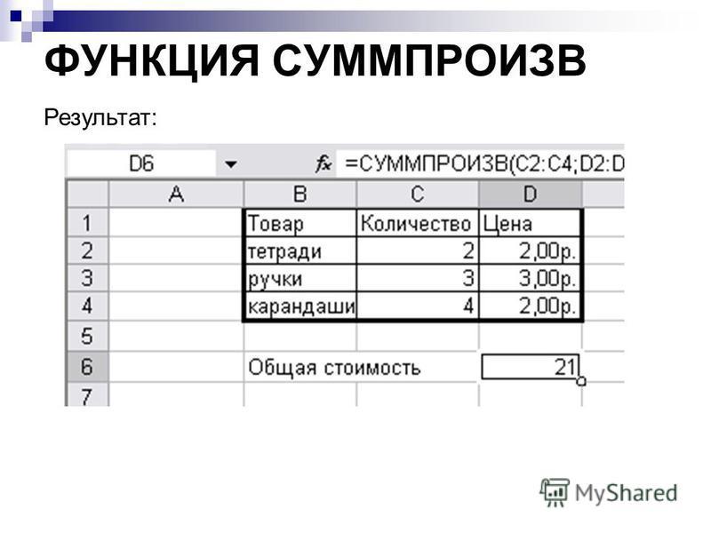 ФУНКЦИЯ СУММПРОИЗВ Результат: