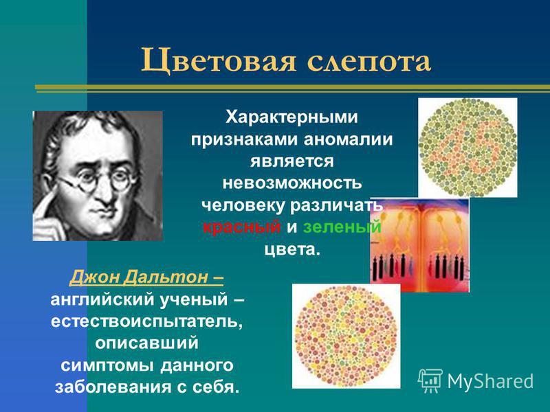 Цветовая слепота Джон Дальтон – английский ученый – естествоиспытатель, описавший симптомы данного заболевания с себя. Характерными признаками аномалии является невозможность человеку различать красный и зеленый цвета.