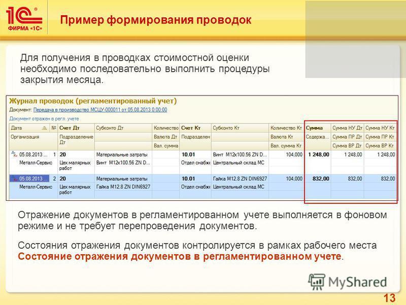 13 Пример формирования проводок Для получения в проводках стоимостной оценки необходимо последовательно выполнить процедуры закрытия месяца. Отражение документов в регламентированном учете выполняется в фоновом режиме и не требует перепроведения доку