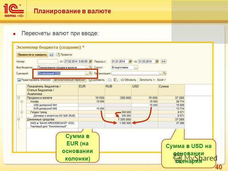 40 Планирование в валюте Пересчеты валют при вводе: Сумма в EUR (на основании колонки) Сумма в USD на основании сценария