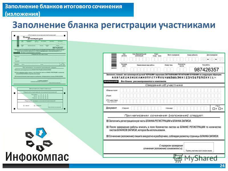 24 Заполнение бланков итогового сочинения (изложжения) Заполнение бланка регистрации участниками