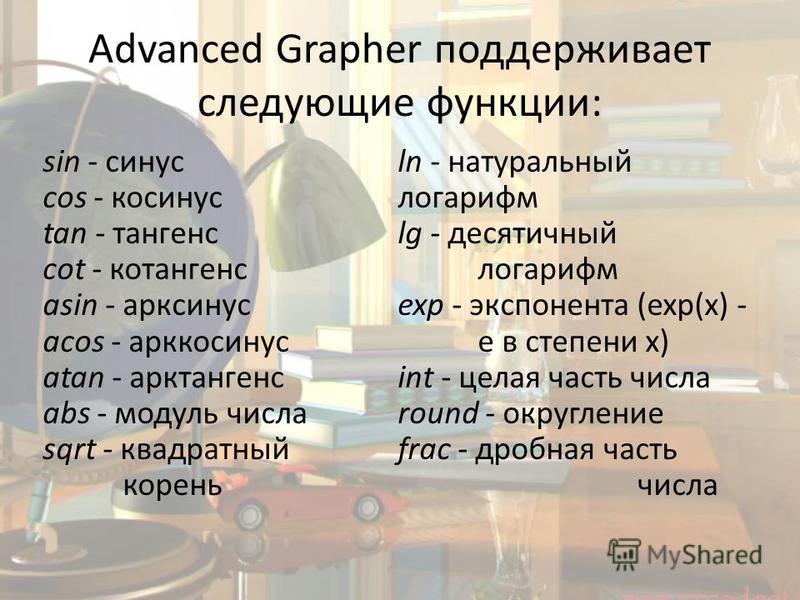 Advanced Grapher поддерживает следующие функции: sin - синус cos - косинус tan - тангенс cot - котангенс asin - арксинус acos - арккосинус atan - арктангенс abs - модуль числа sqrt - квадратный корень ln - натуральный логарифм lg - десятичный логариф