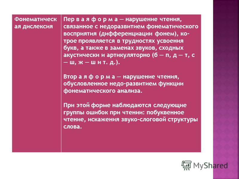 Фонематическ ая дислексия Пер в а я ф о р м а нарушение чтения, связанное с недоразвитием фонематического восприятия (дифференциации фонем), ко- трое проявляется в трудностях усвоения букв, а также в заменах звуков, сходных акустически и артикуляторн