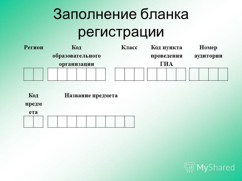Заполнение бланка регистрации Регион Код образовательного организации Класс Код пункта проведения ГИА Номер аудитории Код предм ета Название предмета