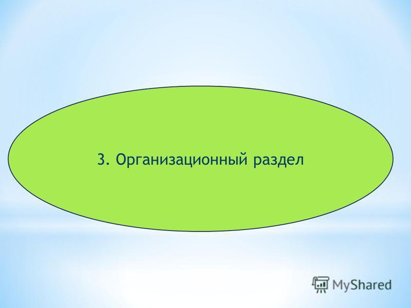 3. Организационный раздел