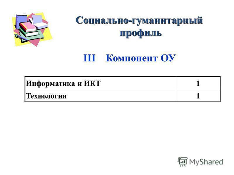 Информатика и ИКТ1 Технология 1 Социально-гуманитарный профиль профиль III Компонент ОУ