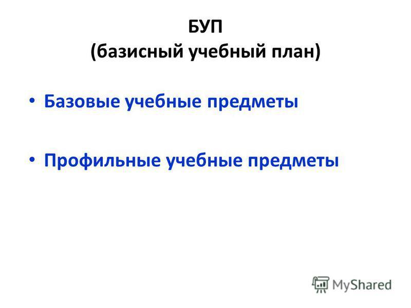 БУП (базисный учебный план) Базовые учебные предметы Профильные учебные предметы