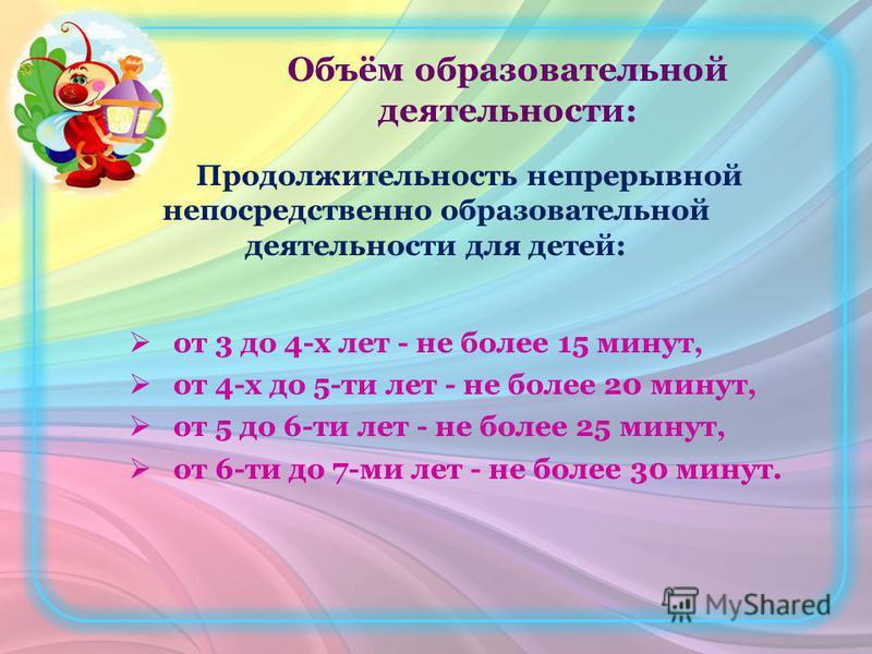 Объём образовательной деятельности: Продолжительность непрерывной непосредственно образовательной деятельности для детей: от 3 до 4-х лет - не более 15 минут, от 4-х до 5-ти лет - не более 20 минут, от 5 до 6-ти лет - не более 25 минут, от 6-ти до 7-