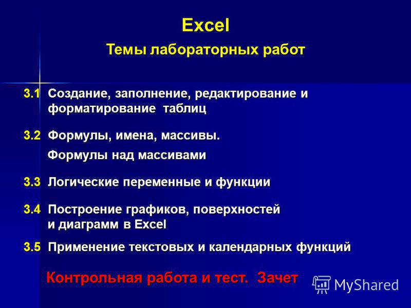 Excel Темы лабораторных работ 3.1 Создание, заполнение, редактирование и форматирование таблиц форматирование таблиц 3.2 Формулы, имена, массивы. Формулы над массивами Формулы над массивами 3.3 Логические переменные и функции 3.4 Построение графиков,