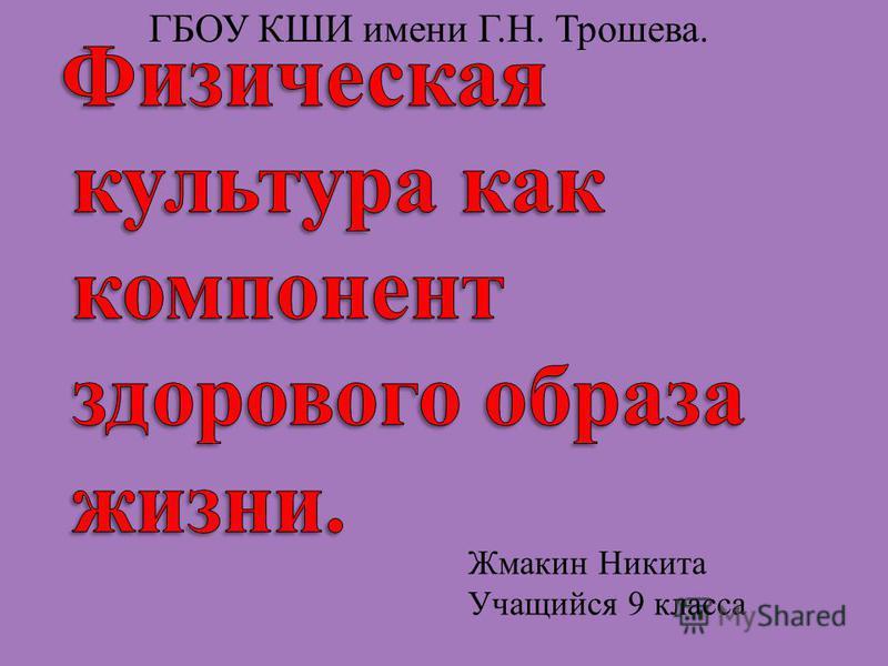 Жмакин Никита Учащийся 9 класса ГБОУ КШИ имени Г.Н. Трошева.
