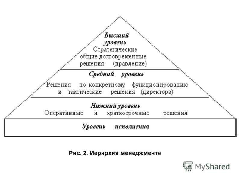 Рис. 2. Иерархия менеджмента
