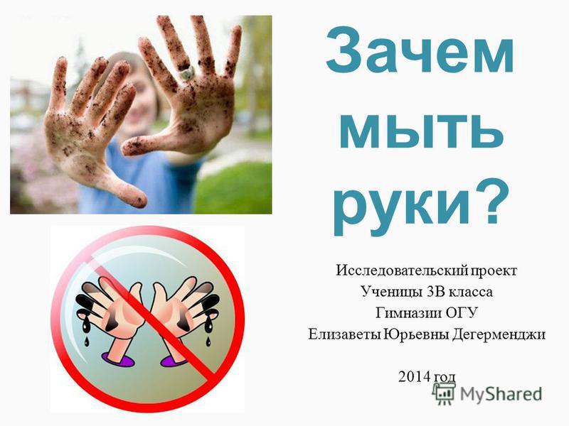 Зачем мыть руки? Исследовательский проект Ученицы 3В класса Гимназии ОГУ Елизаветы Юрьевны Дегерменджи 2014 год